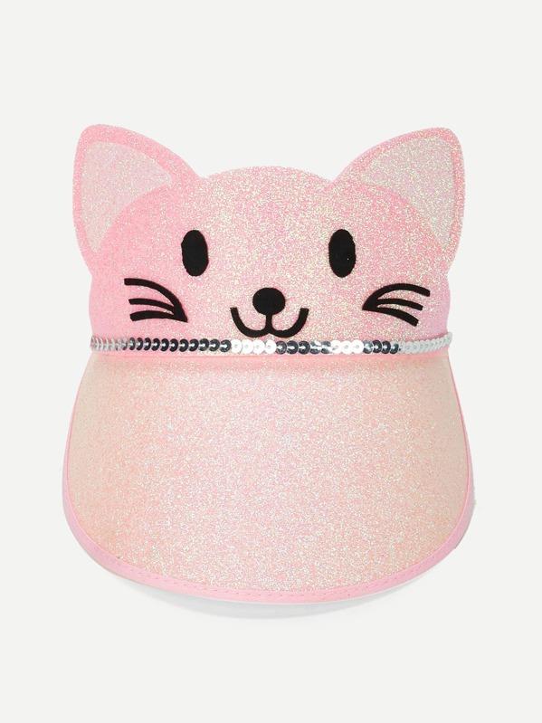 f92f53f70a1 Girls Glitter Cat Visor Hat