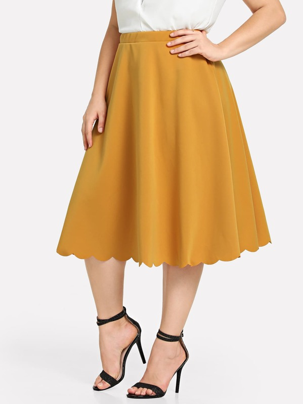sheinplus-pleated-solid-skirt by sheinside