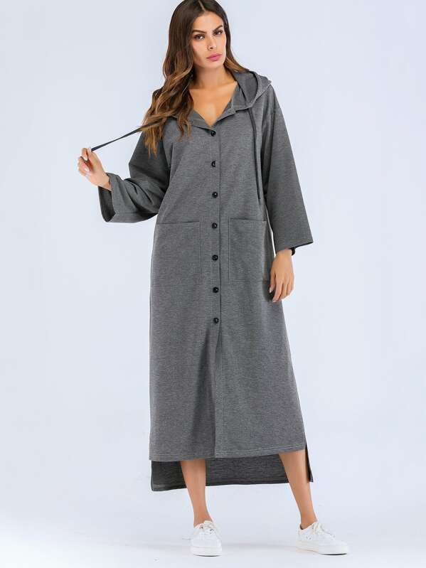 Solid Button Front Hooded Dress, Grey