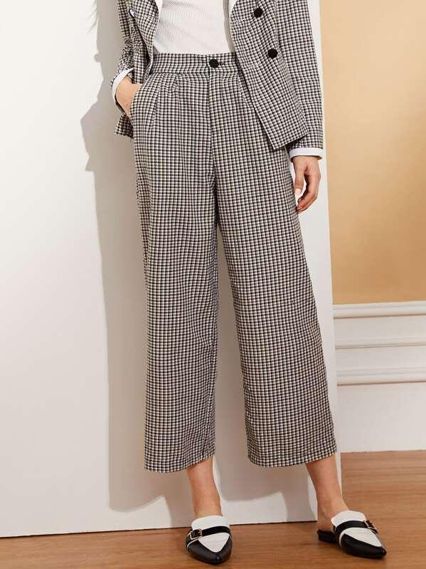 Pantalones anchos con bolsillo oblicuo-Spanish SheIn(Sheinside) 9ffb10e6f7d