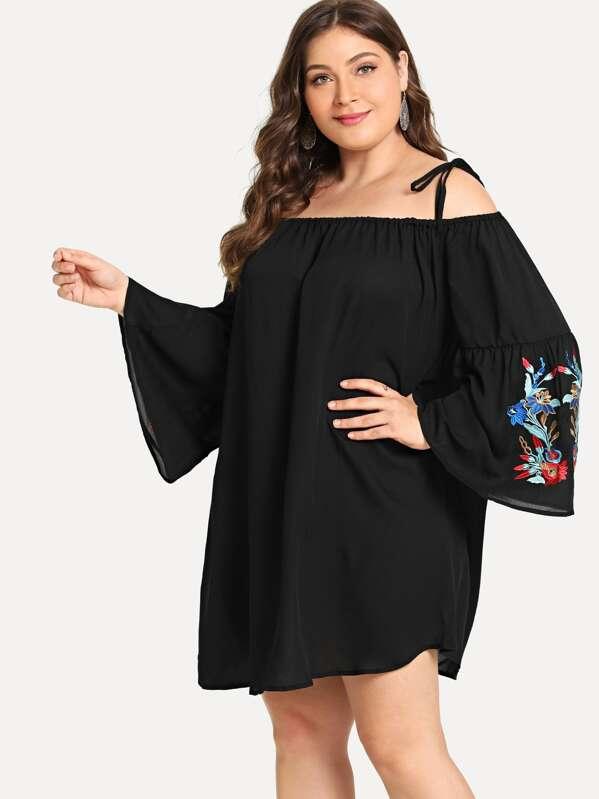 100% de garantía de satisfacción buscar auténtico brillo encantador Vestido de tirante con diseño de bordado de talla grande