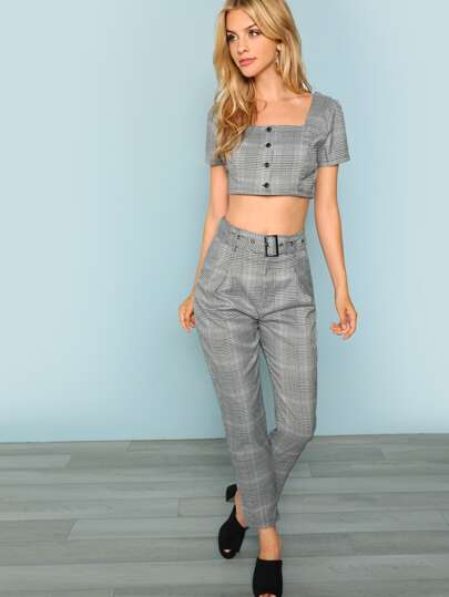 6ac65252753ce2 Houndstooth Crop Top And Pant Set