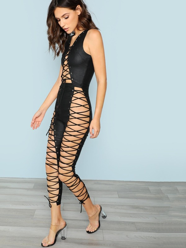 ced9bb8baa33 Laceup Cutout Jumpsuit