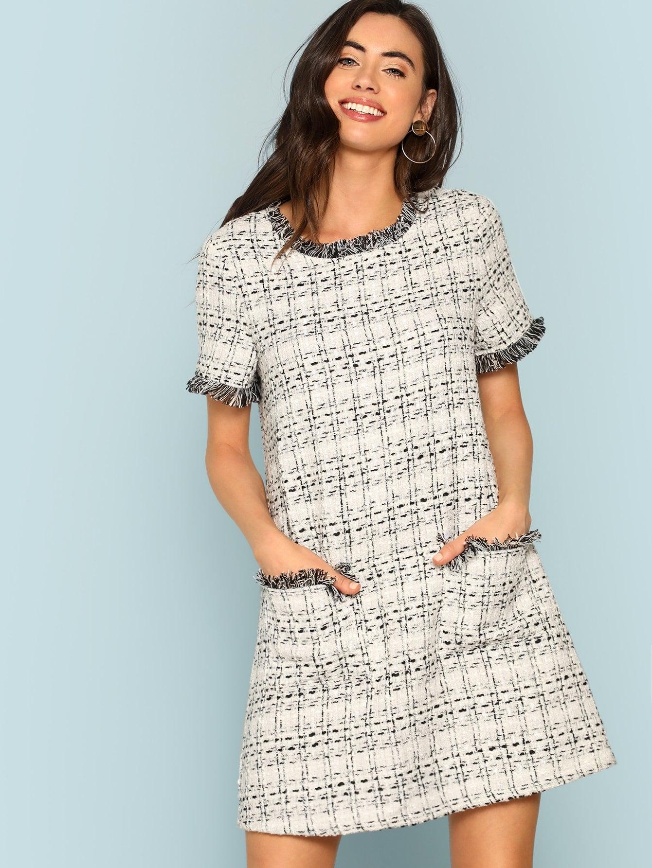 a806b33a21 Frayed Edge Pocket Front Tweed Dress