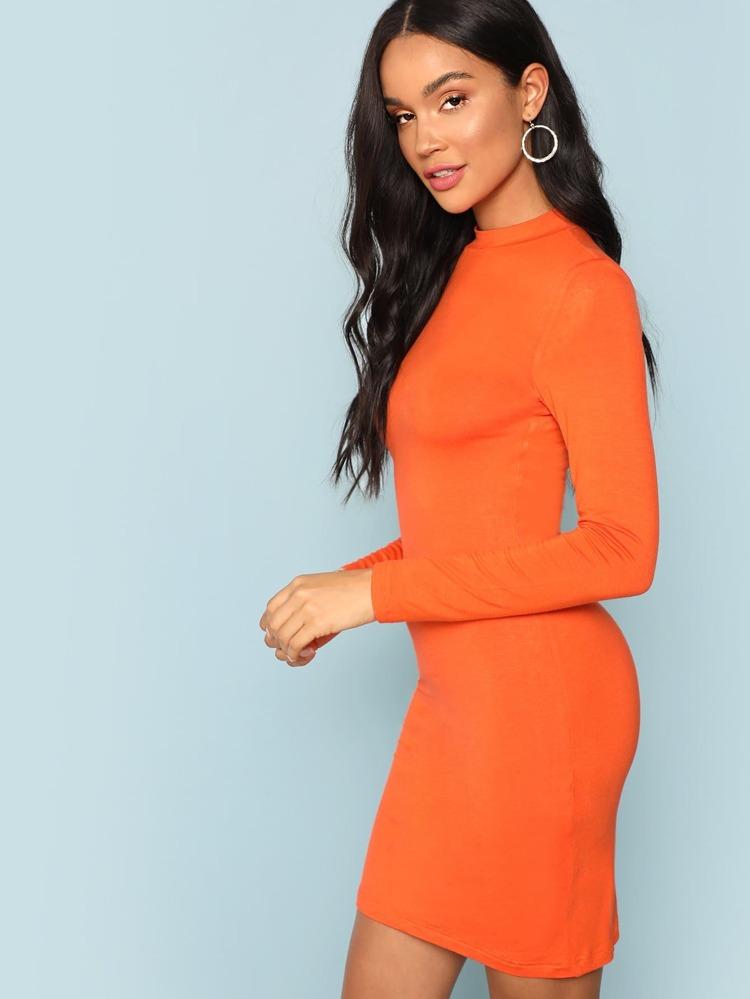 ebf71bb56b76 Neon Orange Mock-neck Solid Bodycon Dress   SHEIN