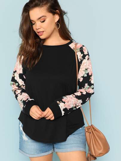 4d435ff2ad2 Plus Round Neck Floral Raglan Sleeve Top