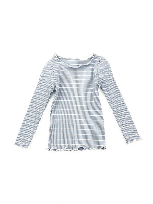 a970e886291 Toddler Girls Lettuce Edge Trim Striped Sweater -SheIn(Sheinside)