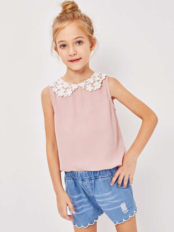 Girls Lace Collar Keyhole Back Top by Shein