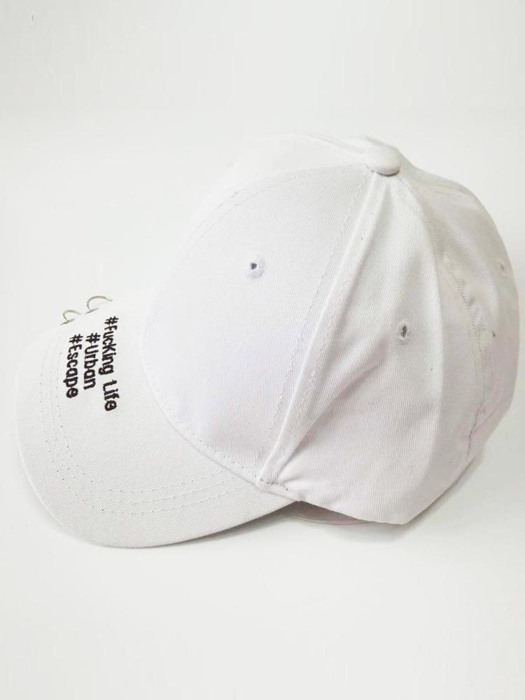 2c1e46636f Men Eyelet Embroidered Letter Baseball Cap | SHEIN