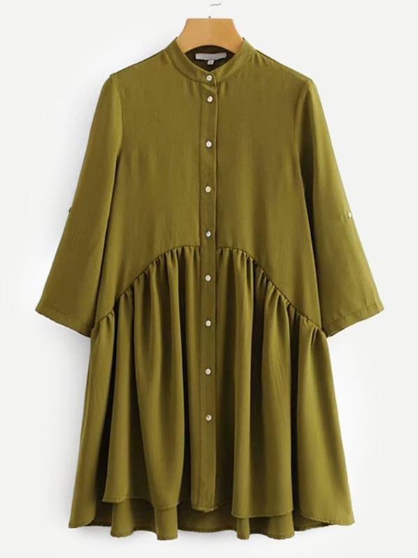 Button Through Shirt Dress by Sheinside