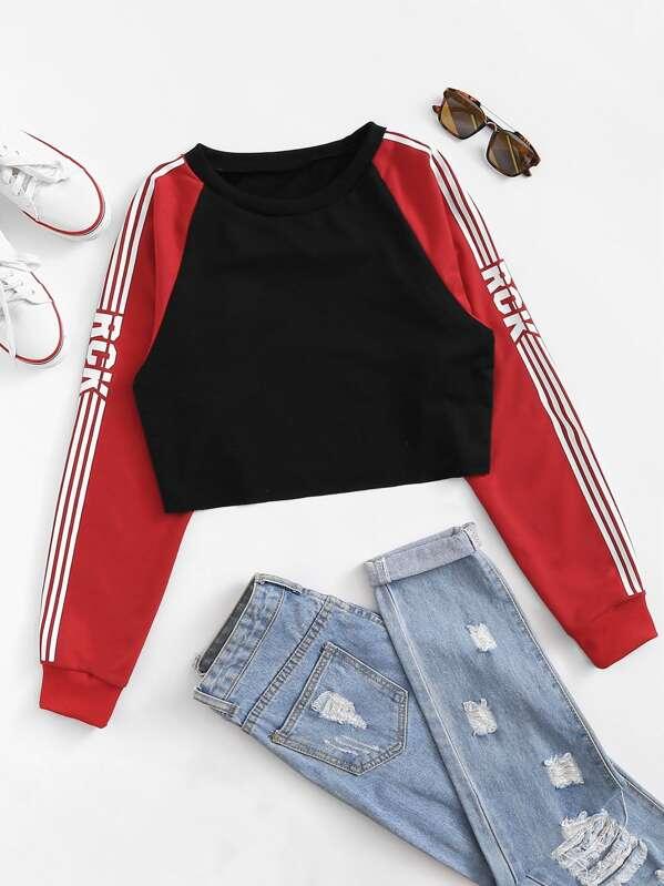 Striped Side Raglan Sleeve Crop Sweatshirt by Sheinside