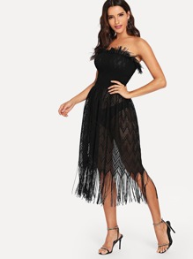 5483753cae Chevron Fringe Hem Shirred Tube Dress