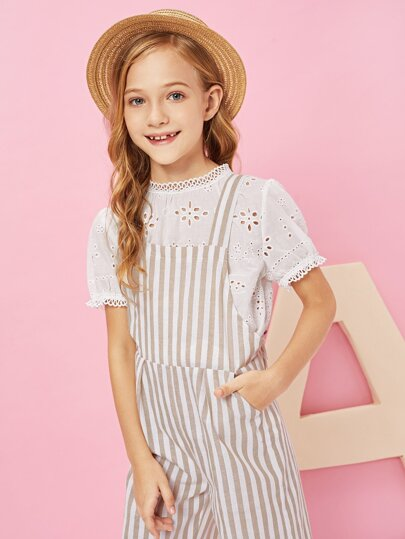 2450735891f3 Girls Striped Print Jumpsuit