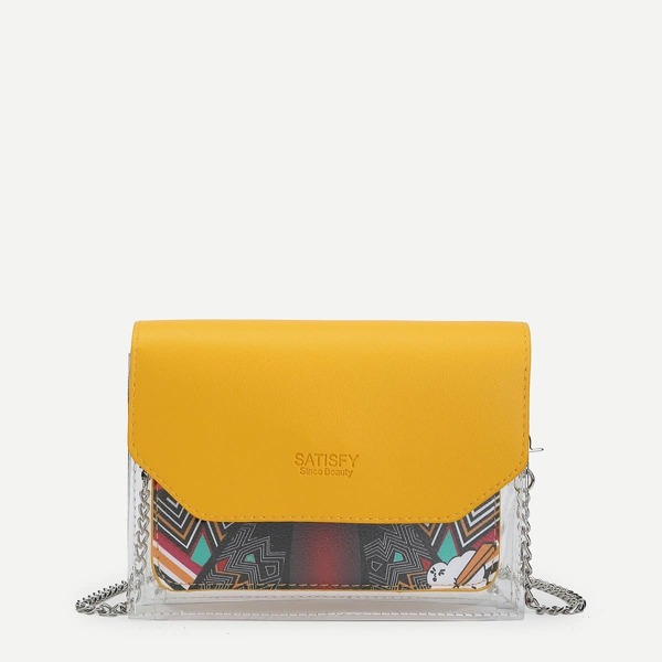 Clear Contrast Flap Chain Crossbody Bag, Multicolor