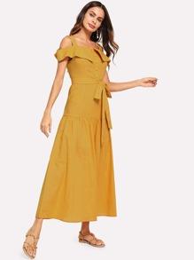 167cf4713d3 Cold Shoulder Foldover Front Self Belted Dress