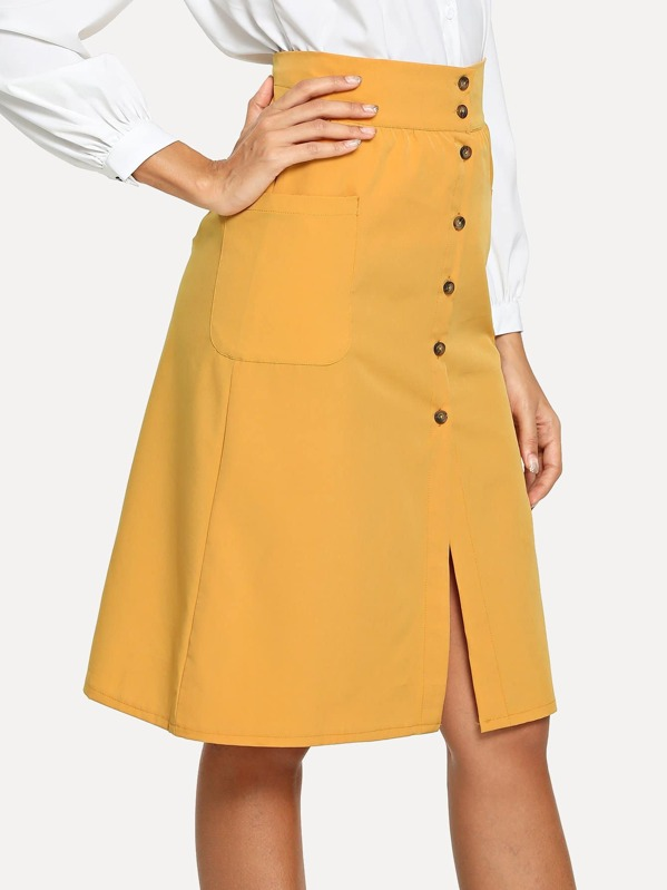 119e1229798 Button Front Pocket Skirt -SheIn(Sheinside)