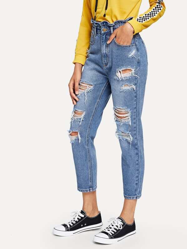 d11a6081998 Ruffle Waist Distressed Jeans -SheIn(Sheinside)