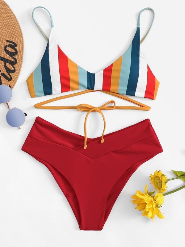 25844548b82f3 Cheap Lace Up Striped Top With Cheeky Bikini Set for sale Australia ...