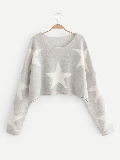 Drop Shoulder Star Pattern Crop Jumper 1b3a46bf1b95