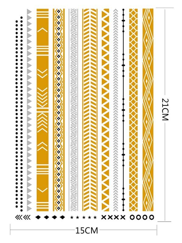 Geometrisches Muster Streifen Tattoo Aufkleber German Shein Sheinside