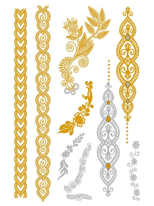 Blumen Streifen Tattoo Aufkleber German Shein Sheinside