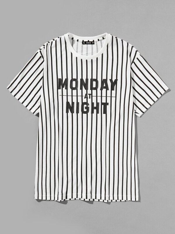 Men Letter Front Vertical Striped Tee by Shein