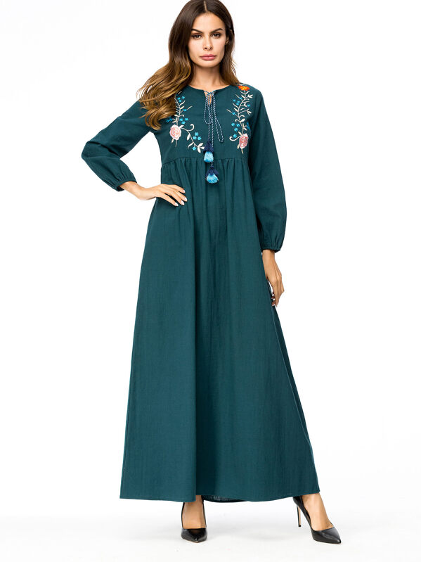 Flower Embroidered Tassel Detail Dress, Green