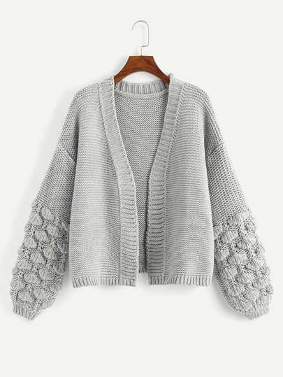 5fa71ba4eec3 Crochet Bishop Sleeve Cardigan