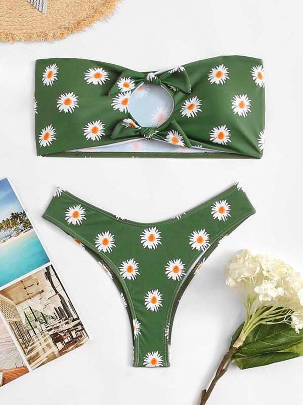 8b2e844e34 Cut-Out Knot Front Floral Bikini Set -SHEIN(SHEINSIDE)