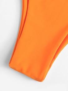 Slätt Spets Upp Bikini Orange Badkläder -Svenska SHEIN(SHEINSIDE) 0f59868827064