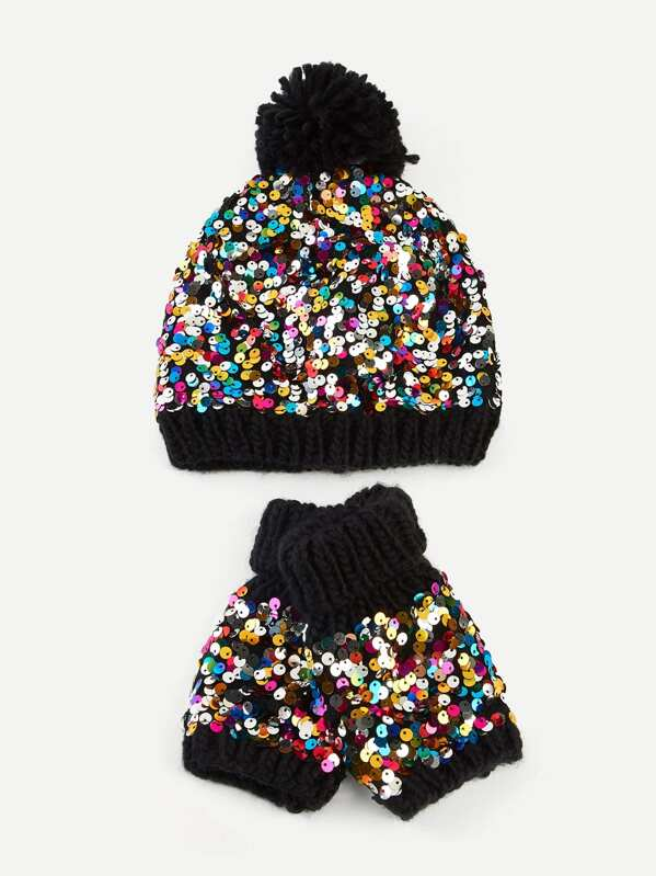 Sequin Knit Hat   Gloves Set 3pcs  d323a4bf043