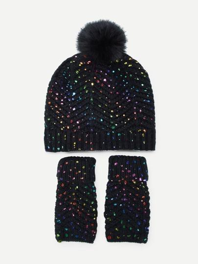 8c92662b74e1d Sombrero y guantes de punto brillante 3 piezas