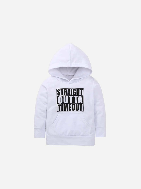 Toddler Boys Letter Print Hooded Sweatshirt, White