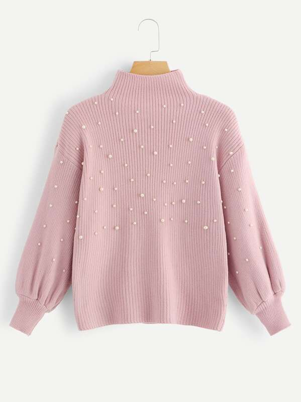 Pearl Beaded Lantern Sleeve Ribbed Sweater by Sheinside