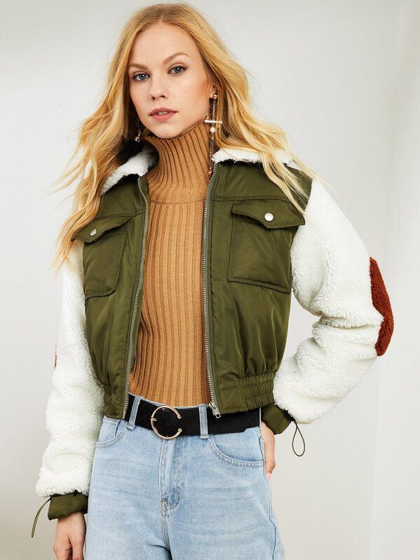 Fleece Collar And Sleeve Padded Jacket by Shein