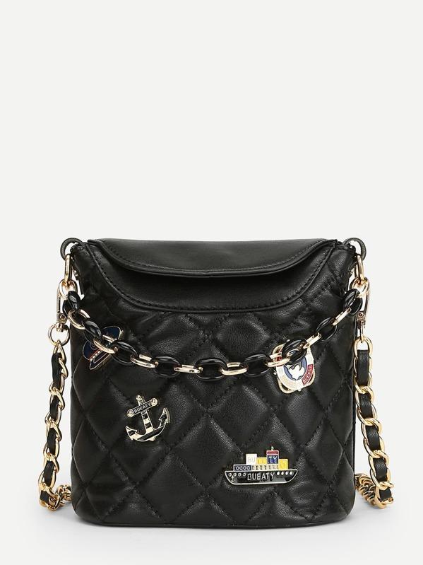 Patch Detail Quilted Chain Bag Sheinsheinside