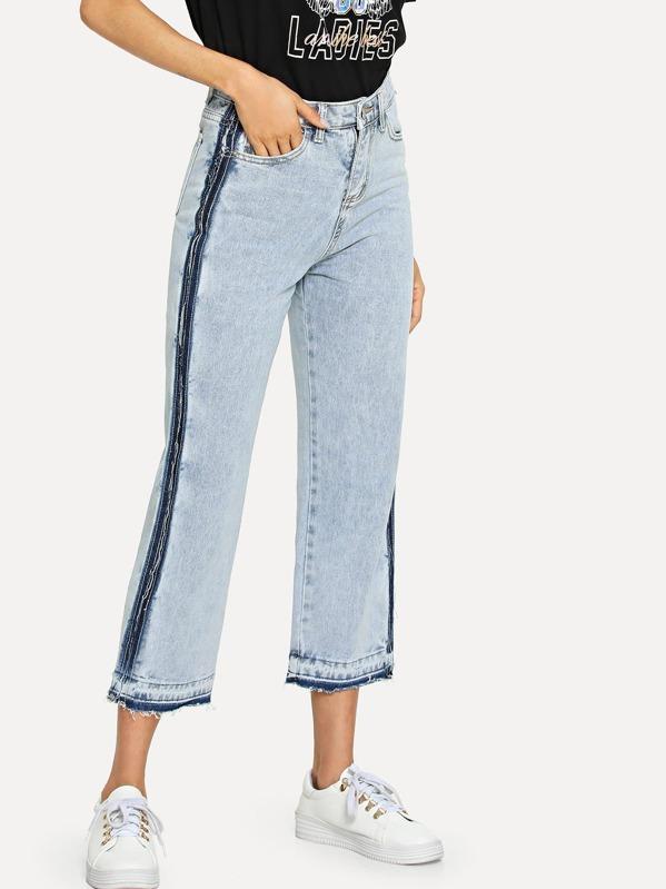 Tillfällig Slätt Ficka Blå Jeans -Svenska SHEIN(SHEINSIDE) 034b1afa4357d