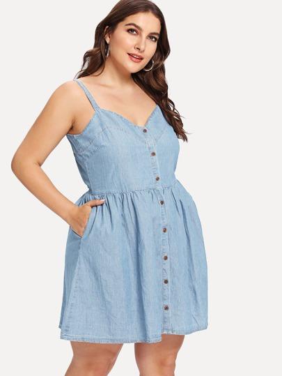 c9689169c9 Cheap Plus Button Up Pocket Cami Denim Dress for sale Australia