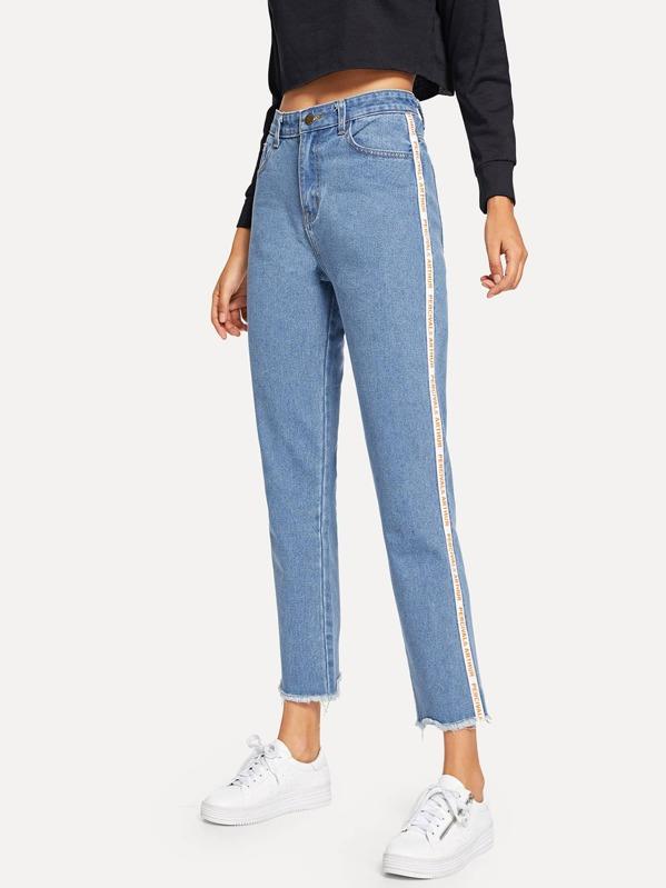 Tillfällig Randig Ficka Blå Jeans -Svenska SHEIN(SHEINSIDE) 7dec67589415e