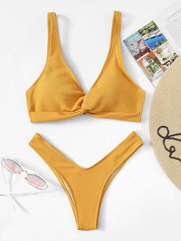 Slätt Vridning Bikini Gul Badkläder -Svenska SHEIN(SHEINSIDE) c9e0960e8b781