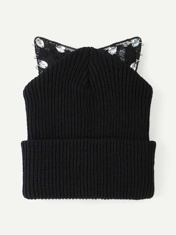 1f03ce42e3 Cat Ear Knit Beanie Hat -SheIn(Sheinside)