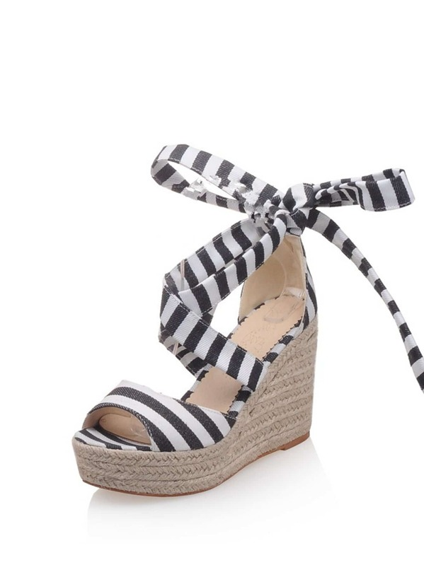 632531db905449 Striped Detail Lace Up Wedge Sandals -SHEIN(SHEINSIDE)