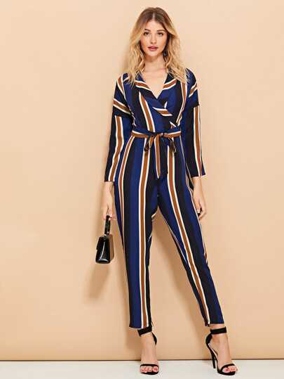 58419f52b2 Striped Wrap Self Tie Waist Jumpsuit