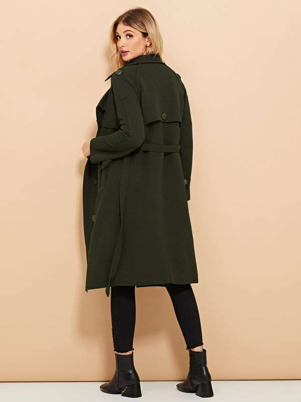 Button Decoration Solid Coat, Army green, Nathane
