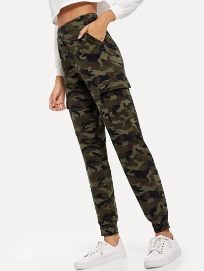 e92a8a92266 Högmidjade byxor med fickor och kamouflage mönster -Svenska SHEIN(SHEINSIDE)