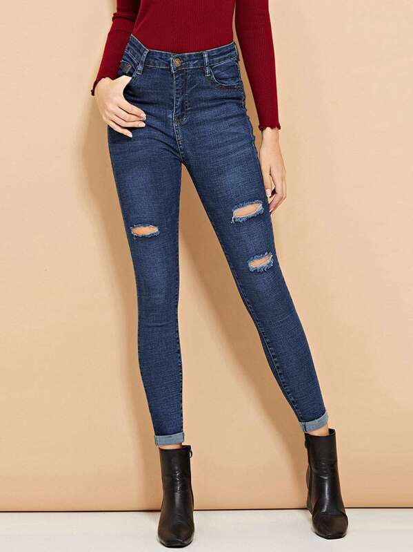 Ripped Roll-Up Skinny Jeans, Blue, Nathane