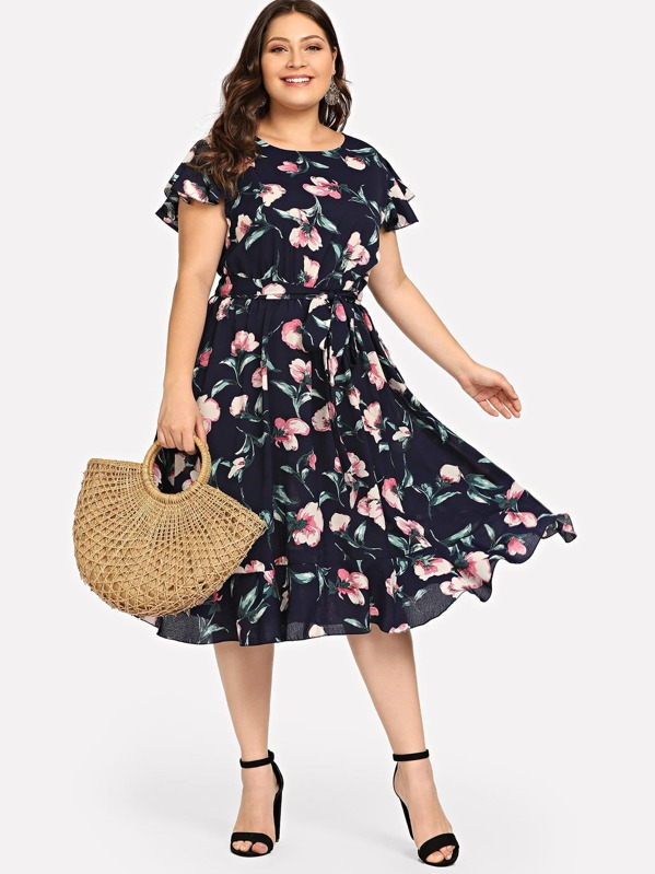 Plus Floral Print Self Belted Dress