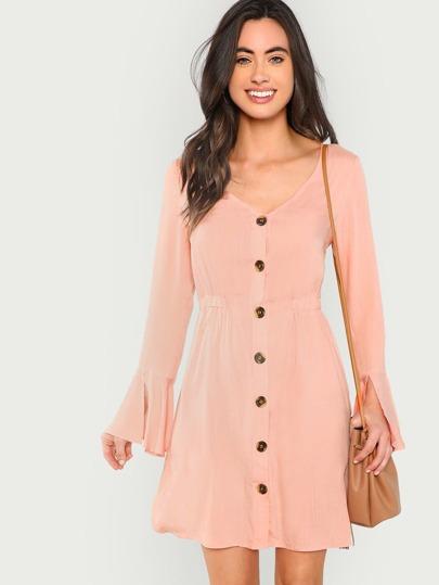 Split Bell Cuff Button Front Dress 66b00b8ee282