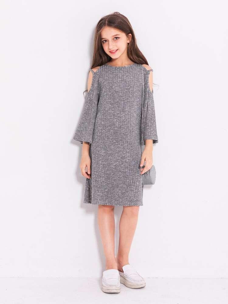 3461837500a Girls Open Shoulder Sweater Dress