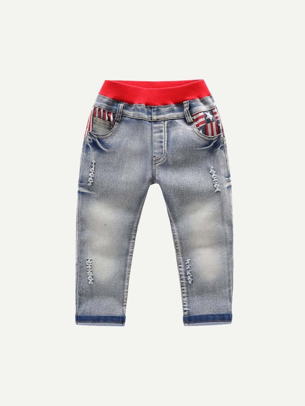 c8d860bb3 Toddler Boys Star And Striped Print Back Jeans -SheIn(Sheinside)